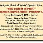 December 2, 2012 — National Pearl Harbor Remembrance Day Event (Speaker Series)