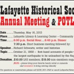 Please Join us for our Annual Meeting, Potluck and Historical Presentation