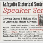 Upcoming Speaker Series: Growing Grapes & Making Wine in Lamorinda: History & Present